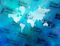 Technology. Composition with enter text and world map Royalty Free Stock Images