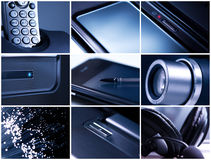 Technology. Collage of office electronics equipment stock photography