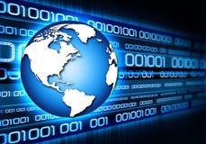 Technology. Blue globe with binary data Stock Image