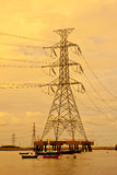 Technology. Cable hight volt of power plant Stock Photo