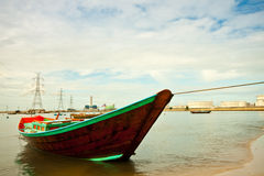 Technology. Fishing boat with power plant back Stock Images