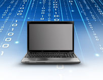Technology. Modern laptop and binary code flowing Stock Image