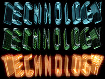 Technology. 3D renderings of the word Technology, rendered with various material shaders royalty free illustration
