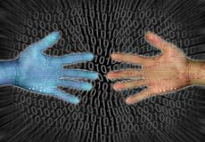 Technology. Hands reaching on internet and binary code Stock Images