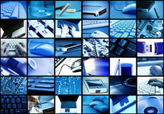 Technology. Many panel screens showing technology themed images Stock Photography