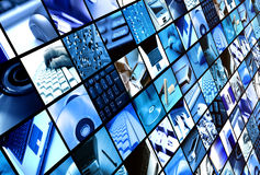 Technology. Slanted angle wall of panels with technology images Stock Photo