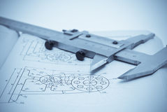 Technology. Architecture blueprint & tools on the table Stock Photos