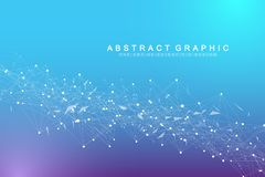 Technology abstract background with connected line and dots. Big data visualization. Perspective backdrop visualization. Analytical networks. Vector stock illustration