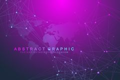 Technology abstract background with connected line and dots. Big data visualization. Perspective backdrop visualization. Analytical networks. Vector Stock Photos