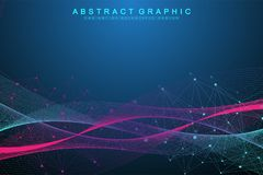 Technology abstract background with connected line and dots. Big data visualization. Perspective backdrop visualization. Analytical networks. Vector Royalty Free Stock Photos