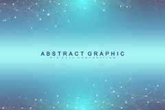 Technology abstract background with connected line and dots. Big data visualization. Perspective backdrop visualization. Analytical networks. Vector Royalty Free Stock Image