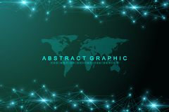 Technology abstract background with connected line and dots. Big data visualization. Perspective backdrop visualization. Analytical networks. Vector Stock Photography
