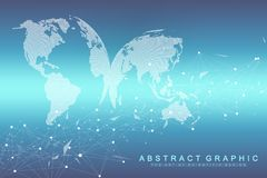 Technology abstract background with connected line and dots. Big data visualization. Perspective backdrop visualization. Analytical networks. Vector royalty free illustration