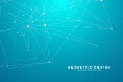 Technology abstract background with connected line and dots. Vector geometric dynamic illustration. Technology abstract background with connected line and dots Stock Photography