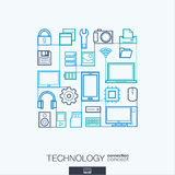 Technology abstract background, integrated thin line symbols. Royalty Free Stock Photos