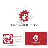 Technology. Abstract chameleon icon with business card design template. Can be used for the concept of technology logo or digital company, industrial engineering Stock Image