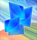 Technology abstract illustration. Of floating liquid crystal  display monitors in colorful fast moving background with very slightly visible binary code and Royalty Free Stock Images