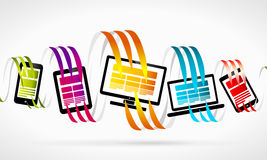 Technology. Abstract illustration .  Colorful ribbons and gadget devices Royalty Free Stock Image