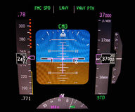 Technology: aircraft flight deck at 37000 ft. Primary flight display. Instrument panel of a modern airliner stock photos
