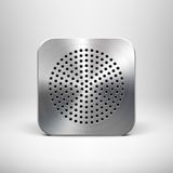 Technology App Icon Template with Metal Texture Royalty Free Stock Photo