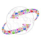 Technology arrow around Earth. Vector illustration of arrow made of technology symbol Royalty Free Stock Photo