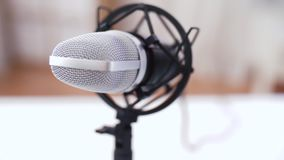 Close up of microphone at recording studio