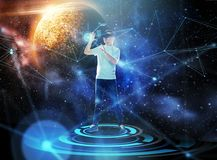 Man in virtual reality headset or 3d glasses Royalty Free Stock Photo
