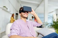 Happy man with virtual reality headset at office royalty free stock images