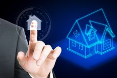 Technology and automation concept. Hand pointing at abstract smart house interface. Technology and automation concept. 3D Rendering stock photos