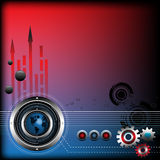 Technology background. Abstract colorful illustration with colored gears, thin stripes, small blue globe, red arrows and various futuristic elements. Technology Stock Image