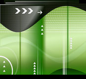 Technology background. Green and black technology background with arrows, abstract shapes & pattern royalty free illustration