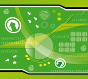 Technology background. Green technology background with numbers, abstract shapes & various symbols stock illustration