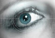 Technology background. Eye close up with technology background Stock Photos