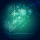 Technology Background. A glowing Blue Green Hi Tech circuit board abstract background Stock Photo