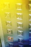 Technology background. Elevator buttons. Intentional selective focus for effect Stock Images