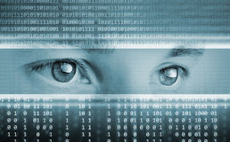Technology background with eyes Stock Images