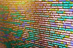 Technology background. Hacker breaching net security. Source code close-up. Screenshot with random parts of program code royalty free stock images