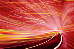 Technology background illustration, abstract speed. Abstract speed motion in red urban highway road tunnel, blurred motion toward the light. Computer generated Royalty Free Stock Photos