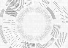 Technology background with lines circles image light gray. Vector. Royalty Free Stock Photo
