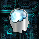 Technology background with microchip and brain. Royalty Free Stock Images