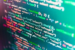 Technology background. Monitor closeup of function source code. WWW software development. Desktop PC monitor photo. HTML website stock photos