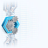Technology background with three dimensions cogwheels framed by hexagon Stock Photos