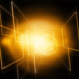 Technology Background. Yellow And Dark ,Futuristic Abstract Background Design Stock Images