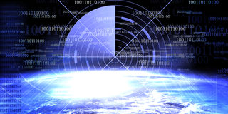 Technology banner. On an earthly background Royalty Free Stock Photos