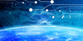 Technology banner. With integrated earth horizon Stock Photography