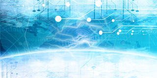 Technology banner. On a bright blue background Royalty Free Stock Image