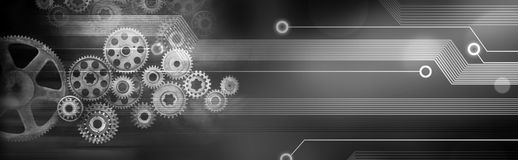 Technology Gears Cogs Banner Background Integration. A background banner of old technology and new using computer circuits and old machine cogs royalty free stock photo