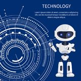 Technology Banner with Cyborg and White Interface. Technology banner with cute glossy cyborg with lilac eyes and white futuristic interface, text sample, many Stock Images