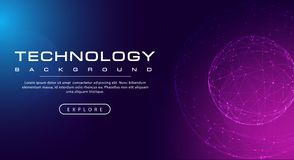 Technology banner line link world sphere, pink blue background concept with light effects vector illustration