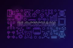 Technology banner made with block chain line icons. And word BLOCKCHAIN inside on dark background Stock Photography